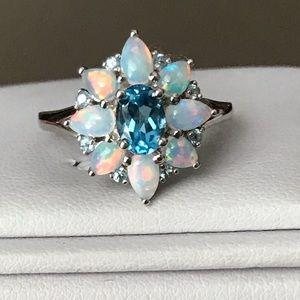925 Opal & Swiss Blue Topaz Ring